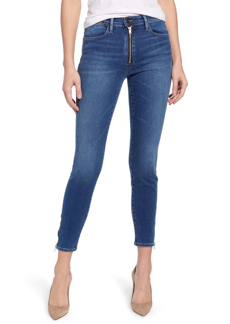 FRAME Le High Waist Exposed Zip Skinny Jeans (Eastman)