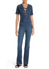 FRAME Le Jumpsuit Lace-Up Denim Jumpsuit