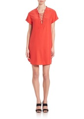 FRAME Le Lace-Up Silk Dress