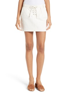 FRAME Le Mini Lace-Up Denim Skirt
