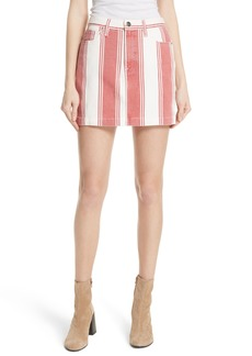 FRAME Le Mini Stripe Denim Skirt