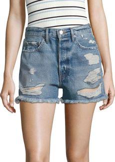 FRAME Le Original High-Rise Distressed Denim Shorts