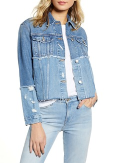 FRAME Le Original Mended Crop Denim Jacket