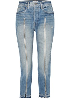 FRAME Le Original Zip-embellished Frayed High-rise Straight-leg Jeans