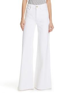 FRAME Le Palazzo Braid Waist Wide Leg Jeans (Blanc)
