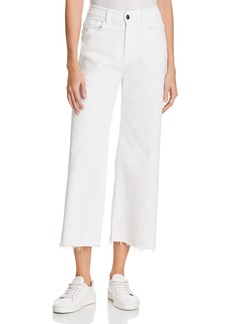 FRAME Le Palazzo Raw-Edge Cropped Jeans in Blanc - 100% Exclusive