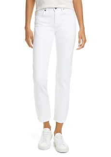FRAME Le Pixie Hollywood High Waist Straight Leg Jeans (Blanc) (Petite)