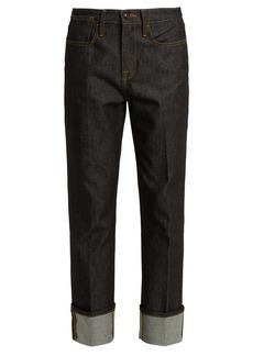 Frame Le Raw oversized-cuff straight-leg denim jeans