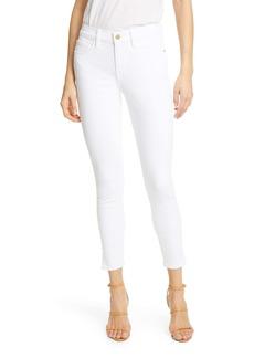 FRAME Le Skinny de Jeanne Ankle Slit Hem Jeans (Blanc)