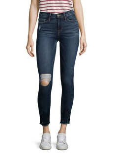 FRAME Le Skinny De Jeanne Cropped Distressed Skinny Jeans