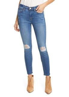 FRAME Le Skinny de Jeanne Distressed Ankle Skinny Jeans (Poe Rips)