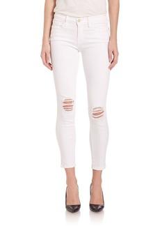 FRAME Le Skinny De Jeanne Distressed Cropped Jeans