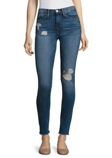 FRAME Le Skinny De Jeanne Distressed Frayed Hem Jeans
