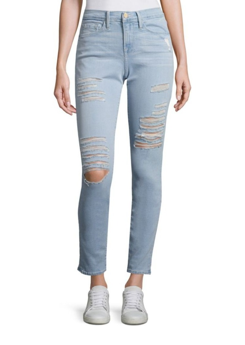 FRAME Le Skinny De Jeanne Distressed Skinny Jeans