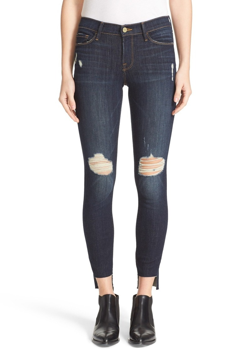 FRAME FRAME Le Skinny de Jeanne Distressed Step Hem Skinny Jeans ...
