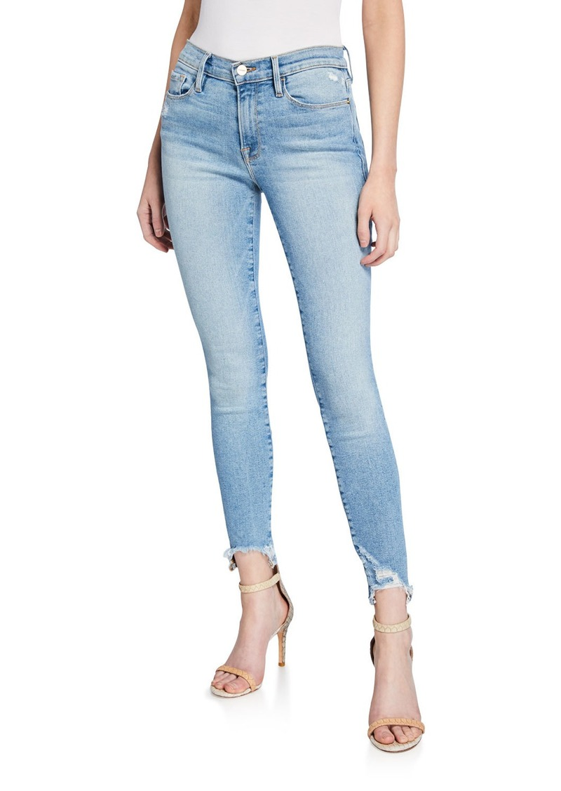 FRAME Le Skinny De Jeanne High-Rise Jeans with Shredded Hem