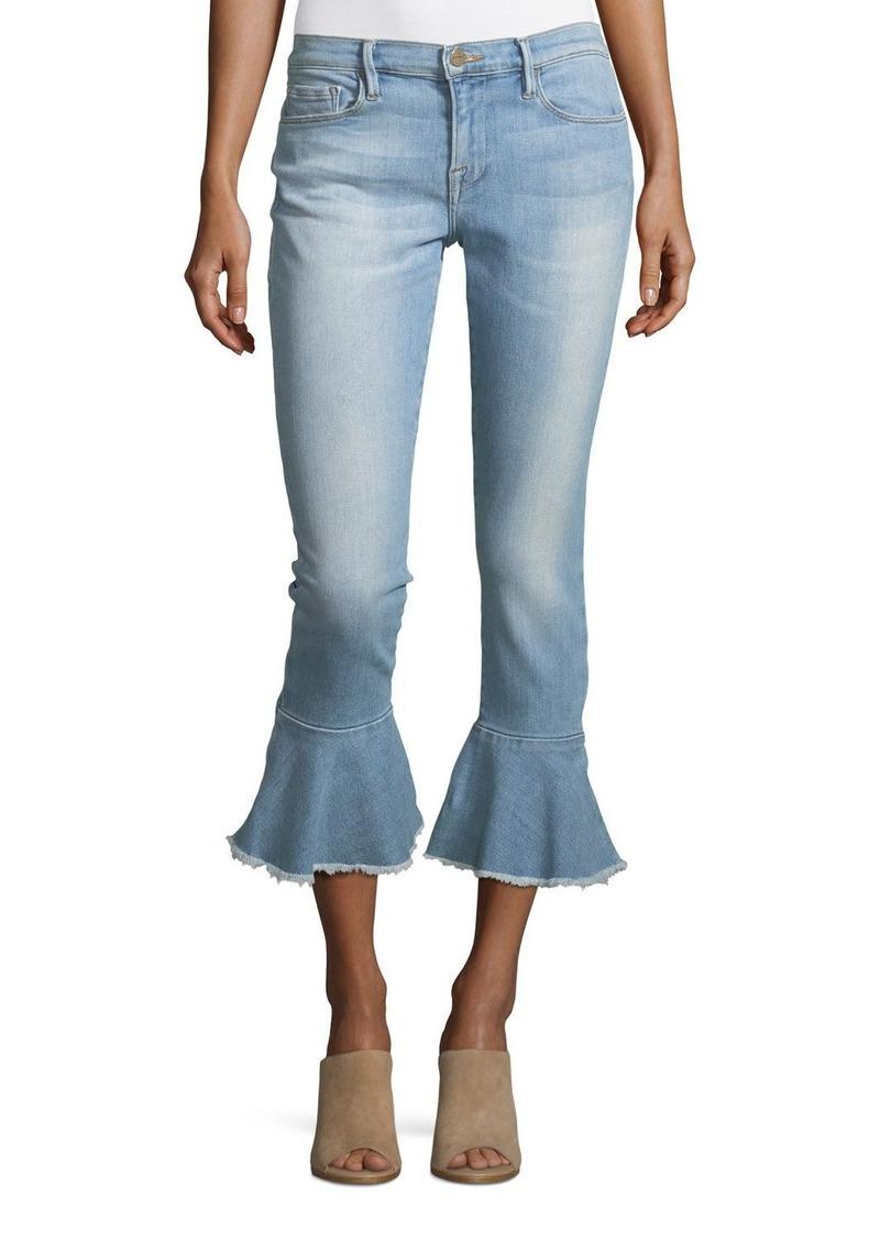 1978c397 FRAME Le Skinny de Jeanne Mid-Rise Ankle Jeans with Flounce-Hem   Denim