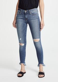 FRAME Le Skinny De Jeanne Raw Edge Faded Jeans
