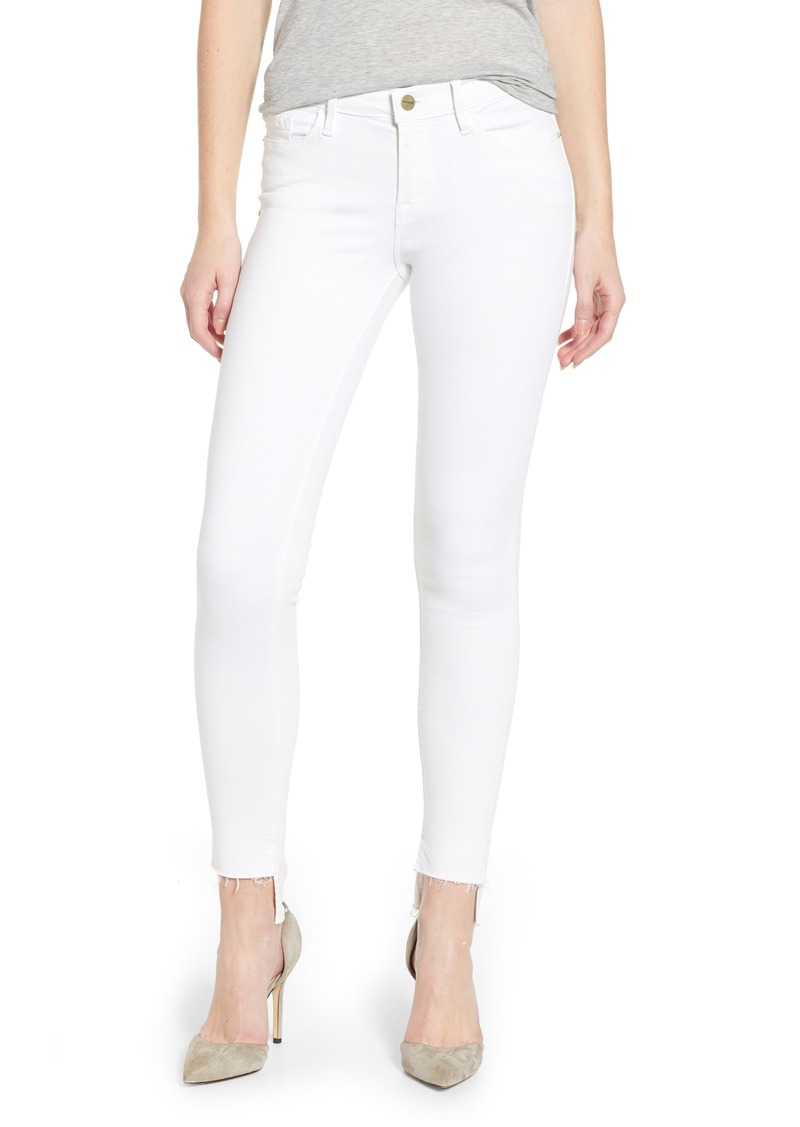 FRAME Le Skinny de Jeanne Raw Stagger Hem Jeans (Blanc)