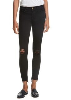 FRAME Le Skinny de Jeanne Raw Stagger Hem Jeans (Lilac Film Noir)