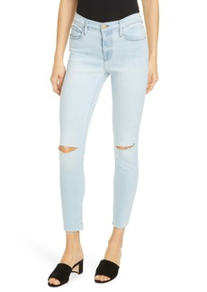 FRAME Le Skinny de Jeanne Ripped Crop Jeans (Pacifica)