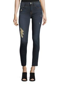 FRAME Le Skinny Raw-Edge Hem-Slit Jeans