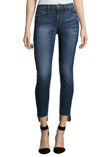 FRAME Le Skinny Raw Stagger Zip Jeans