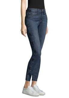 Le Skinny Washed Lace-Up Jeans