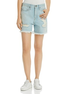 FRAME Le Stevie Distressed Denim Shorts in Henley