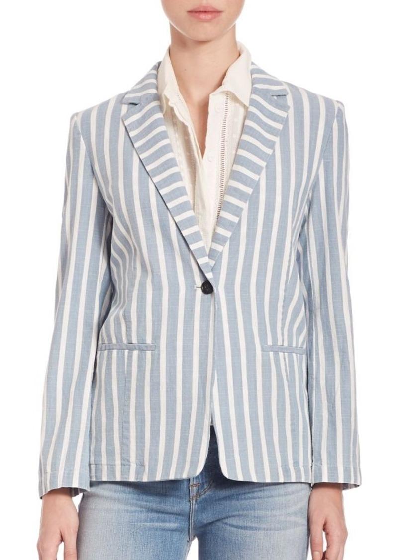 FRAME Le Striped One-Button Blazer