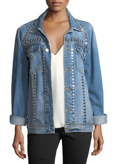 FRAME Le-Studded Button-Front Denim Jacket