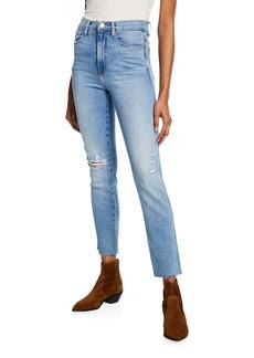 FRAME Le Sylvie High-Rise Straight Raw-Edge Jeans