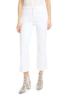 FRAME Le Sylvie High Waist Crop Kick Boot Jeans (Blanc)