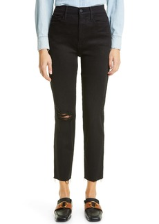 FRAME Le Sylvie High Waist Distressed Ankle Jeans (Blackfish Rips)