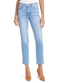 FRAME Le Sylvie High Waist Raw Hem Straight Leg Jeans (Overdrive) (Nordstrom Exclusive)