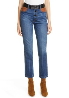 FRAME Le Sylvie Leather Detail Straight Leg Jeans (Flynn)