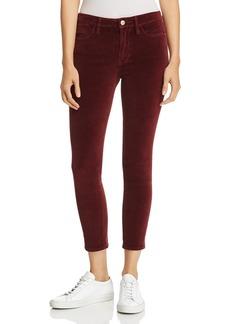 FRAME Le Velveteen High-Rise Skinny Jeans in Pinot