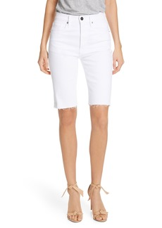 FRAME Le Vintage High Waist Raw Edge Bermuda Shorts (Blanc)