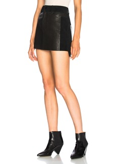 FRAME Leather and Suede Mix Skirt