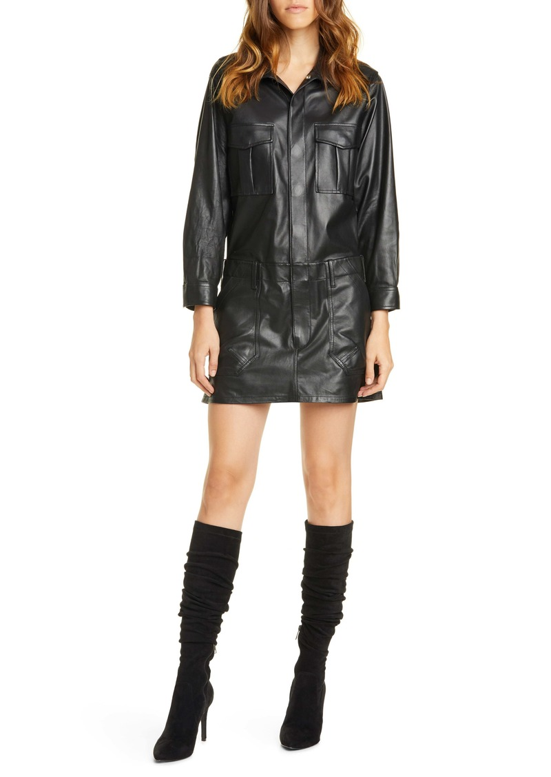FRAME Leather Cargo Long Sleeve Minidress