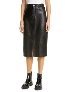 FRAME Leather Midi Boot Skirt
