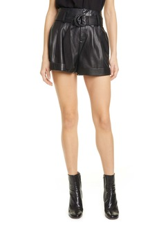 FRAME Leather Paperbag Waist Shorts