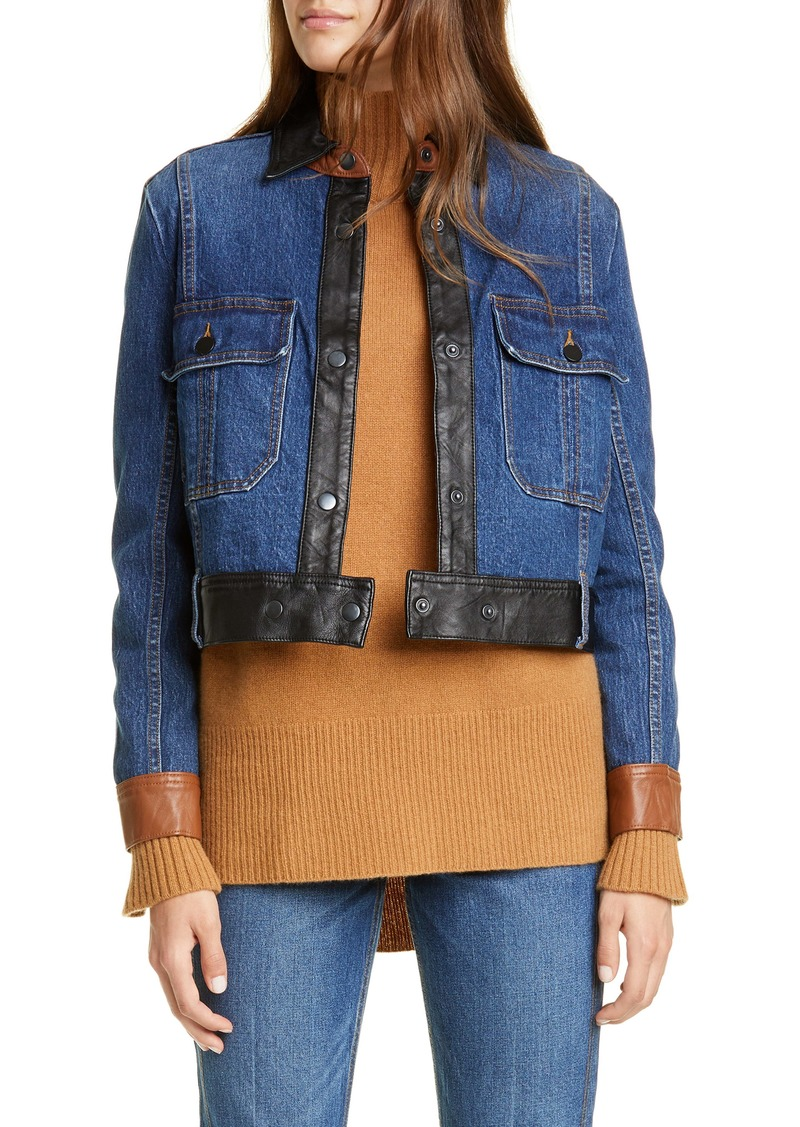 FRAME Leather Trim Denim Jacket (Flynn)