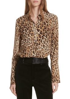 FRAME Leopard Print Silk Blouse
