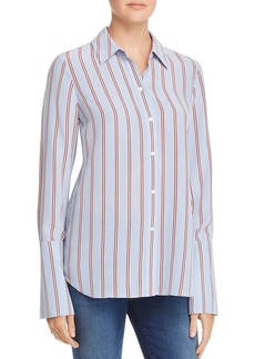 FRAME Long Cuff Striped Silk Pajama Blouse