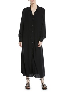 FRAME Long-Sleeve Button-Front Maxi Shirtdress