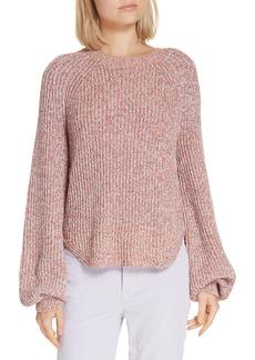 FRAME Marled Puff Sleeve Sweater