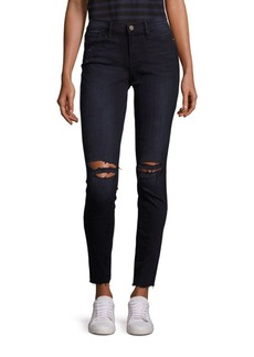 FRAME Mid-Rise Distressed Raw-Edge Skinny Jeans
