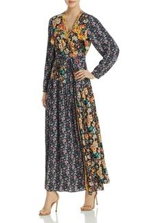 FRAME Mixed-Floral Maxi Wrap Dress