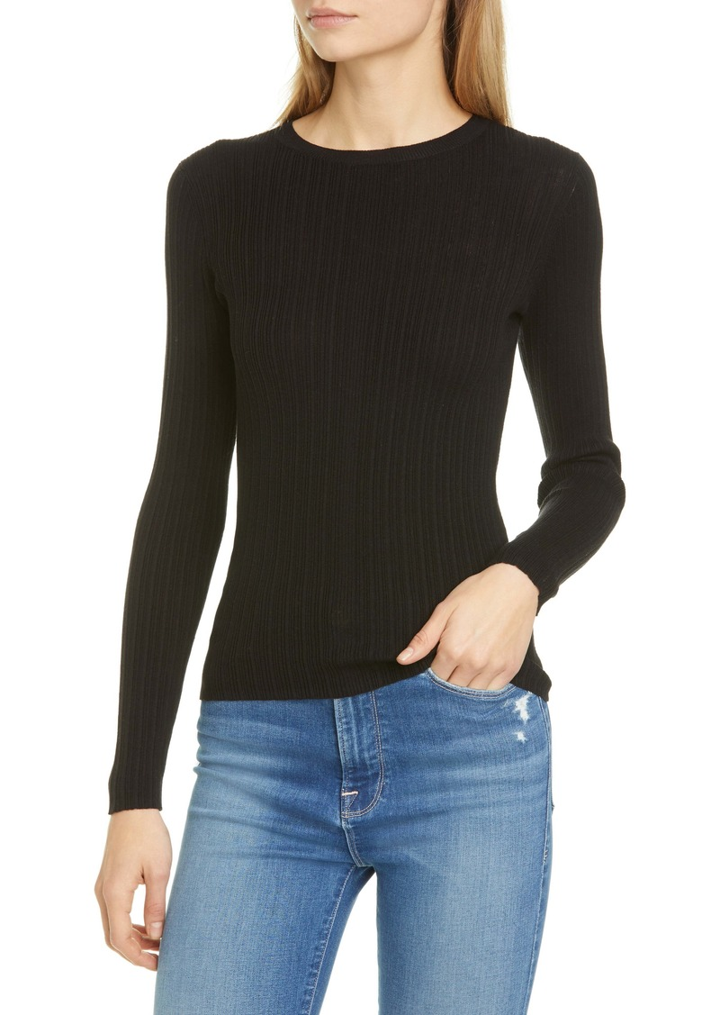 FRAME Mixed Rib Silk & Cotton Sweater